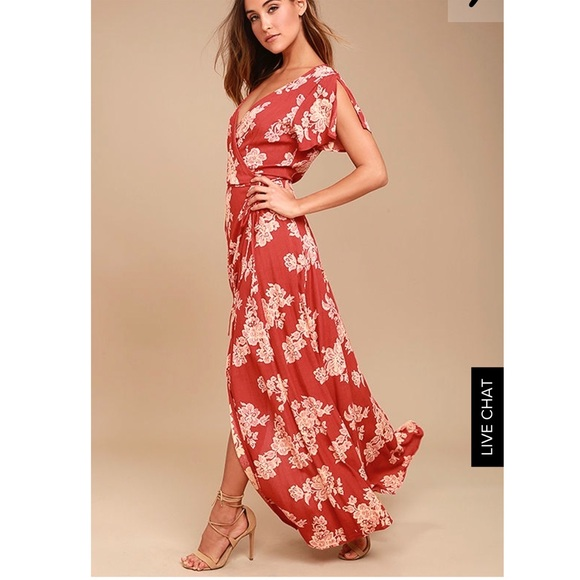 48edfe97a9 Lulu's Dresses | Heart Of Marigold Rust Red Floral Print Wrap Maxi ...